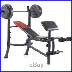 Weight Bench With Weights Set 120 Lb Bar Press Dumbbell Barbell Home Gym Padded