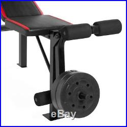 Weight Bench with Bar and Weights 100 lb Lift Set Weight Lifting Exercise Press