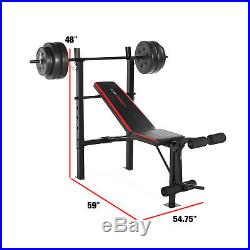 Weight Bench with Bar and Weights 100 lb Lift Set Weightlifting Fitness Workout
