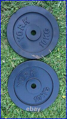 Weights Plates Cast Iron 20kg 2 X 10kg Bench Press York for barbell bar