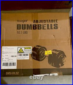 Yes4All Adjustable Dumbbell SINGLE 52.5LB Cast Iron Chrome Bar